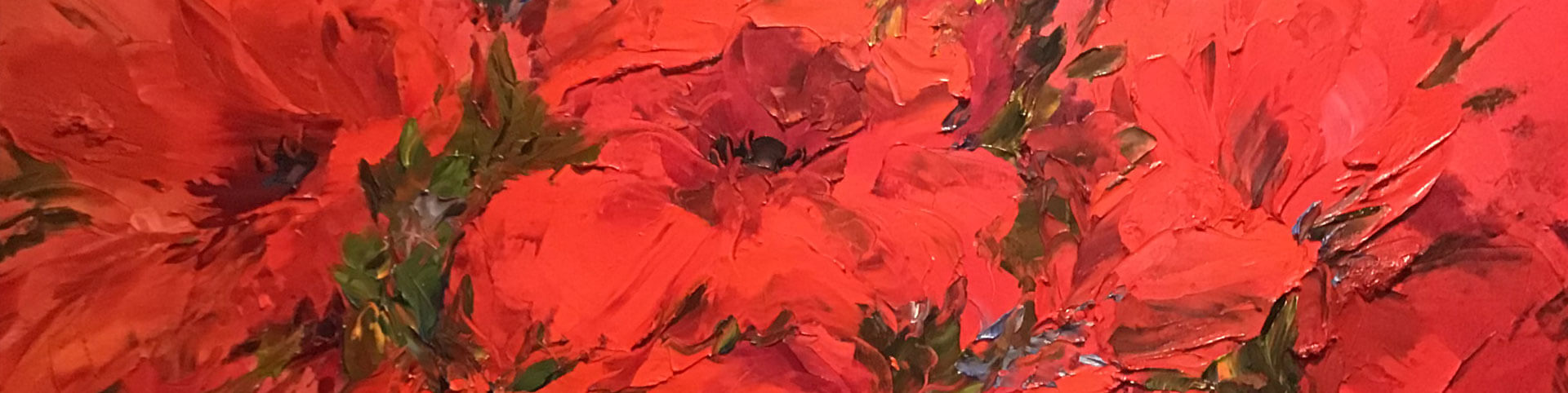 Cropped red poppies painting